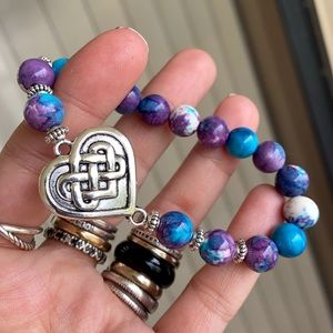 Celtic knot heart snow purple jasper bead bracelet